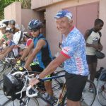 The Tour group leader with a youth cycling club at the Havana Velodromo
